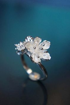 Sterling silver flower ring cherry blossom ring flower
