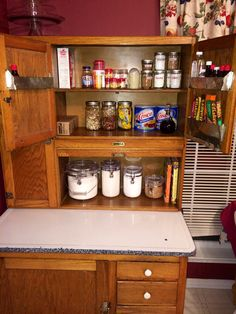 I put all my baking supplies inside for easy access. Hoosier Cabinet, Liquor Cabinet, Baking Supplies, Homemaking, Easy Access, Mountain, Bar, Coffee, Storage