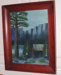 Vintage FOLK ART Mountain CABIN Trees Primitive Rustic Original Oil Painting Signed c1927 by AntiqueARTGarden on Etsy