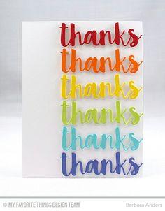 MFT Thanks; CAS; rainbow; repeat; word die