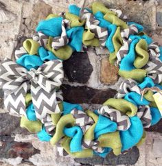 Summer Burlap Wreath Aqua Green and by YellowBirdieBoutique, $41.00