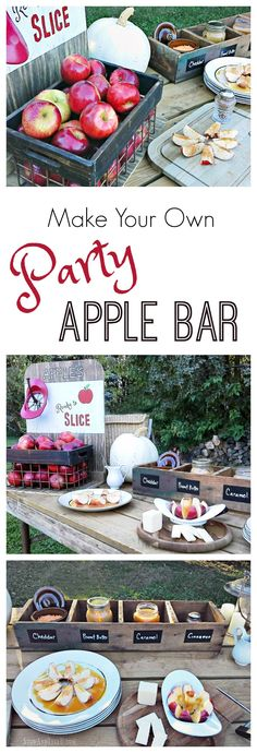 Have a party apple bar at your Fall get together, bonfire or Halloween party. Include corer-slicer, cutting boards, plates, utensils, apples toppings.