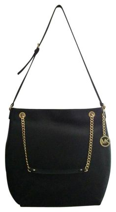 2408718076ef74 Michael Kors Jet Set Gold Chain Leather Large Black Tote Bag. Get one of the