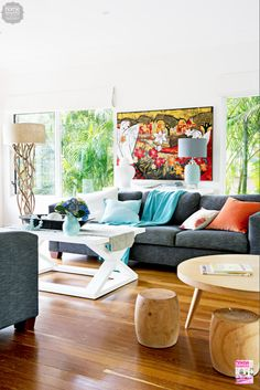 Bright colours and natural light make for a cheerful and cosy lounge room. via Home Beautiful mag. Bright colours and natural light make for a cheerful and cosy lounge room. via Home Beautiful mag. Coastal Living Rooms, Coastal Homes, My Living Room, Coastal Decor, Home And Living, Living Spaces, Interior Design Inspiration, Room Inspiration, Driftwood Flooring