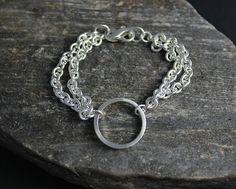 Sterling Silver Circle Bracelet Simple Circle Chain Bracelet