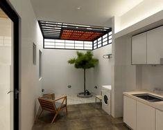Small Home Remodel Designs Under 50 Square Meters - Di Home Design Outdoor Kitchen Design, Home Decor Kitchen, Patio Design, Home Kitchens, Garden Design, Laundry Room Design, Home Room Design, House Design, Outdoor Laundry Rooms