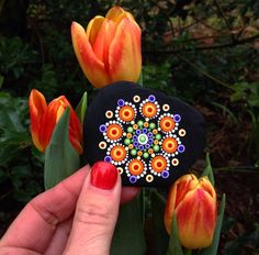 Mandala in orange and black. Dot Art Painting, Rock Painting Designs, Mandala Painting, Pebble Painting, Pebble Art, Stone Painting, Mandala Painted Rocks, Mandala Rocks, Painted Stones