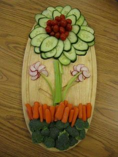 A festive way to display vegetables at the wedding buffet.