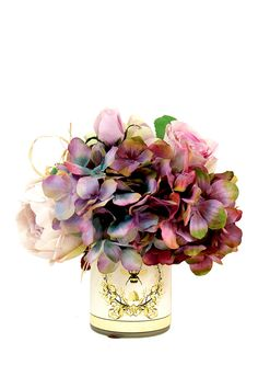Mixed Cabbage Rose Hydrangea Bee Vase Infuse your abode with organic beauty alongside this hyper-realistic foliage necessity.