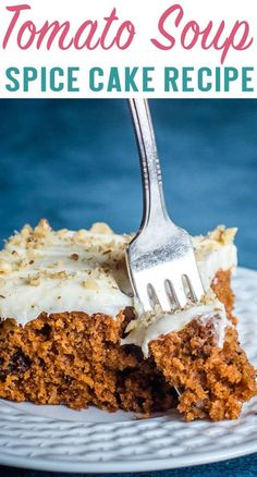 Tomato Soup Cake Recipe {Old Fashioned Mystery Cake Recipe} Tomato soup…in cake? This old fashioned spice cake recipe has stood the test of time. This tomato soup cake is frosted with cream cheese frosting. via The Best Cake Recipes Tomato Soup Spice Cake Recipe, Tomato Soup Cake, Spice Cake Recipes, Homemade Cake Recipes, Best Cake Recipes, Dessert Recipes, Tomato Tomato, Tomato Recipe, Soup Recipes