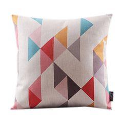 Lovely Geometric Cotton/Linen Decorrative Pillow Cover – USD $ 16.49