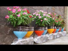 Smart idea for Plastic Bottles, Recycling Plastic bottles into Flower pots - YouTube Plants In Bottles, Pop Bottles, Recycling, Diy Recycle, Garden Plants, Indoor Plants, Recycled Crafts, Diy Crafts, Bottle Garden