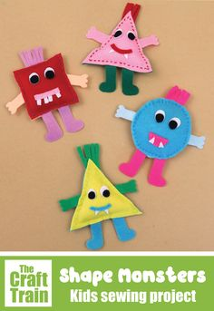 Easy shape monsters sewing craft for kids with free printable pattern. Great for beginners! THis project is part of the Sew a Softie tutorial hop  #sewingcraft #kidssewing #kidsactivities #sewasoftie #feltcrafts #monsters #monstercrafts Halloween Crafts For Kids To Make, Easy Crafts For Kids, Kid Crafts, E Craft, Craft Free, Sewing Projects For Kids, Sewing For Kids, Sewing Patterns Free, Free Sewing