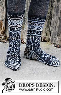 Free knitting patterns and crochet patterns by DROPS Design Knitting Charts, Knitting Socks, Knitting Patterns Free, Free Knitting, Baby Knitting, Free Pattern, Crochet Patterns, Knit Socks, Knitted Slippers