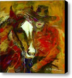A Woman And Her Horse Stretched Canvas Print / Canvas Art By Ron Patterson