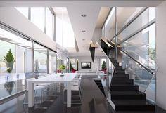 offener wohnbereich schwarze treppenstufen glas geländer