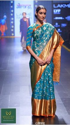 Hand loom silk sari on the runway