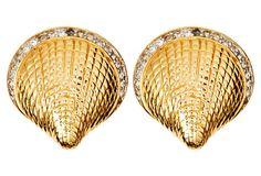 Gold Scallop Earrings on OneKingsLane.com