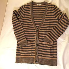 "Madewell sweater cardigan 100% Marino wool striped cardigan sweater. Barely worn! No pulls or snags. Needs some de-pilling from natural fiber. Vneck from top is 12"". Top to bottom is 26"" and chest is 18"" Madewell Sweaters Cardigans"
