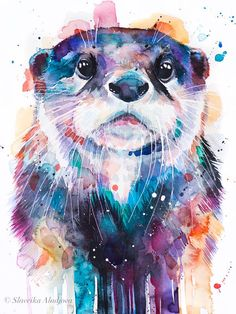 Otter watercolor painting print by Slaveika Aladjova, art, animal, illustration, home Colorful Animal Paintings, Watercolor Paintings Of Animals, Colorful Animals, Painting Prints, Painting & Drawing, Watercolor Art, Otter Tattoo, Art Mural, Wall Art