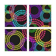 Circles and Polka Dots Neon Brights Pattern Gallery Wrap Canvas #polkadots #wallart #canvasart #retromod