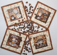 Coffee Coasters - Quilted Fabric Coasters - Brown Vanilla Coasters - Coffee Mug Rugs - Set of 4 coasters - Handcrafted Coasters Coffee Theme, Coffee Love, Coffee Set, Quilted Coasters, Fabric Coasters, Mug Rug Patterns, Quilt Patterns, Coffee Coasters, Coffee Design