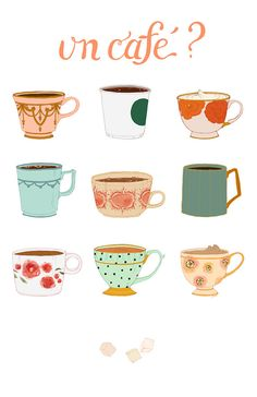 Mixed Media Art Print Full Color Illustration Coffee Cafe Teacup Mug My first purchase for the new house!