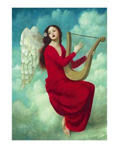 - Angel Playing Small Harp Greeting Card by Stephen Mackey - Angels Among Us, Angels And Demons, Stephen Mackey, Entertaining Angels, I Believe In Angels, Ange Demon, Illustration Art, Illustrations, Mystique