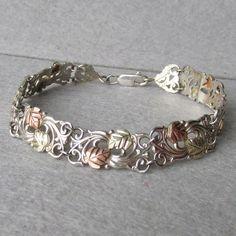 """Black Hills Gold 12k & Sterling Silver 8"""" LOng Vintage Bracelet"""