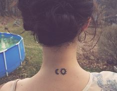 small sun and moon neck tattoo #girly #ink