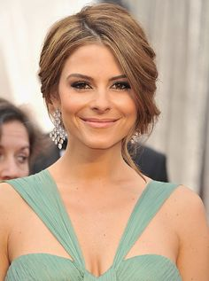 Maria Menounos - soft updo. Love the colour of her dress for bridesmaids gowns