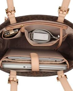 #summer MK MacBook tote perfect for all my Apple products :) Have this!!!!! And I love it! I put all my apple products in it just like this! #handbag #purse