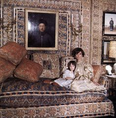 "Princess Lee Radziwill with daughter. Cecil Beaton/Vogue/Conde Nast ""The Real Lee Radziwill"" - Interactive Feature - T Magazine Lee Radziwill, Gloria Vanderbilt, Caroline Lee, London Drawing, Tent Room, London Townhouse, London House, London Apartment, Townhouse Interior"