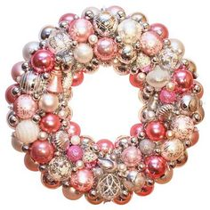 Check out this item at One Kings Lane! Pink & Silver Ornament Wreath