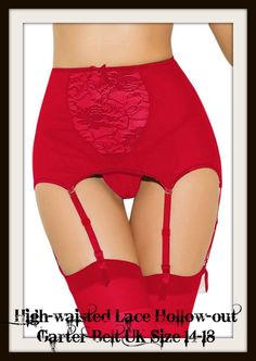 c4a66d3f6 GARTER BELT amp G STRING High waisted Lace UK Size 14 18 Red White Black  Valentine