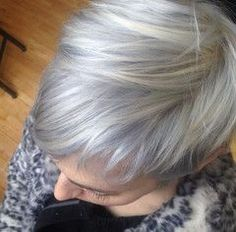 Someday when I let my hair go gray, I love this. Silver Metallics Demi Permanent Hair Color Toner from Kenra Love Hair, Great Hair, Metallic Hair Color, Short Hair Cuts, Short Hair Styles, Pixie Cuts, Semi Permanente, Silver Grey Hair, White Hair