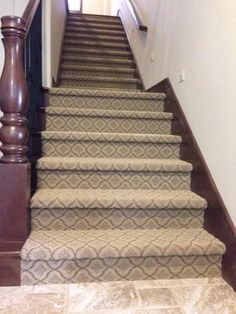 Patterned carpet on full stair instead of wood + runner! Tuftex Carpet Design Ideas, Pictures, Remodel and Decor Bedroom Carpet, Living Room Carpet, Patterned Stair Carpet, Stairway Carpet, Home Depot Carpet, Dark Carpet, Modern Carpet, Green Carpet, Foyer Decorating