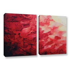 Red Watery Abstract by Shiela Gosselin 2 Piece Gallery-Wrapped Canvas Set