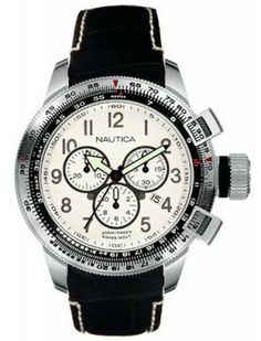 Relógio Nautica Men's A29505 WW Chronograph Black Leather Strap Watch #Relogio #Nautica
