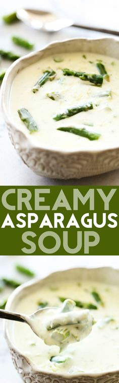 Creamy Asparagus Soup... This is a flavorful and delicious creamy soup that is packed with asparagus and wonderful ingredients that enhance it's flavor! This is a must try!:
