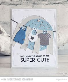 Card clothes clothesline washing baby announcement MFT Bundle of Baby Clothes Die-namics MFT Welcome baby Die-namics stamp set Baby Boy Cards, New Baby Cards, Aliexpress Dies Cards, Baptism Cards, Sewing Cards, Shower Bebe, Marianne Design, Congratulations Card, Tampons