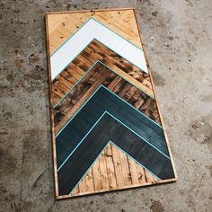 Chevron Print BW impressionnante de 4 pièce en bois Coaster Set