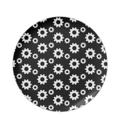Cute black white gear pattern design plate $24.95