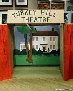 Set the stage for a fabulous showstopping puppet show with a cardboard theatre, complete with moving scenery and curtains to close out acts. Once you've got your setting all ready to go, get your players ready with some make-it-yourself paper puppets.