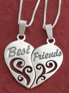 "Sterling Silver BEST FRIENDS Necklaces incl 18"" CHAINS. $29.90, via Etsy."