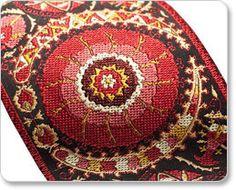 Suzani Ribbon  intricate woven brocade design by lfntextiles