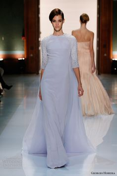 georges hobeika couture spring 2014 pastel blue gown sleeves