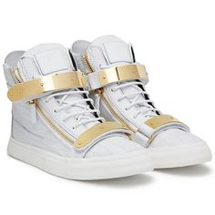 Sneakers - Sneakers Giuseppe Zanotti Design Men on Giuseppe Zanotti Design Online Store / White High Top Sneaker with The Gold Buckles/Straps & HardWare....