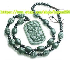 Free shipping  hand-carved natural green jade dragon by heyan258