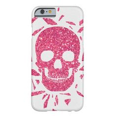 Girly Pink Glitter Abstract Skull Cool Barely There iPhone 6 Case